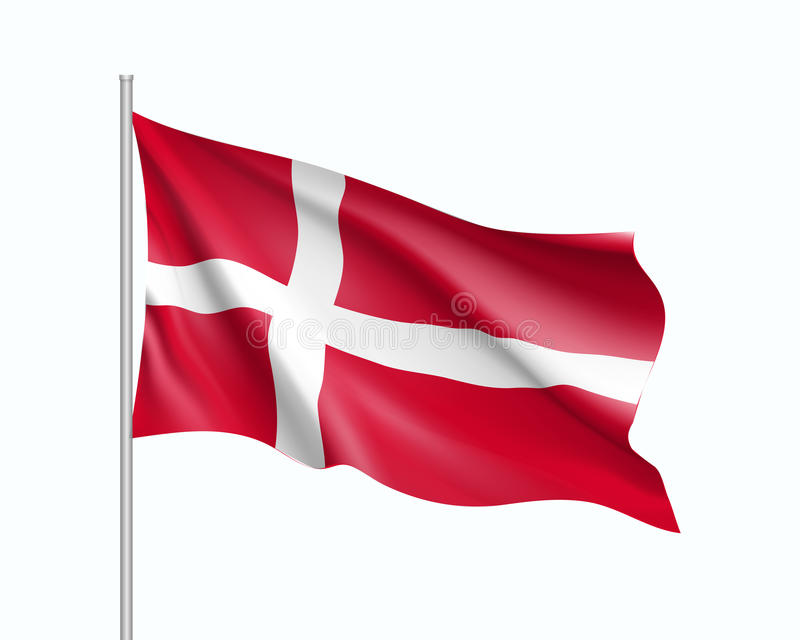 Bandera que agita del estado de Dinamarca stock de ilustración