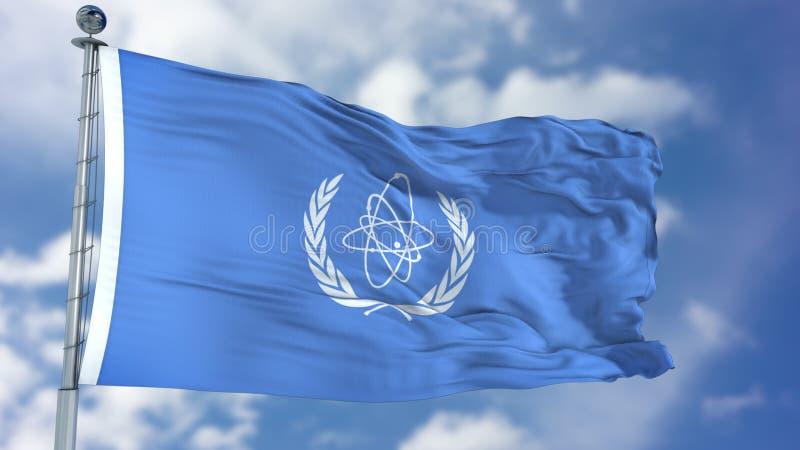 Bandera que agita del Organismo Internacional de la Energía Atómica ilustración del vector