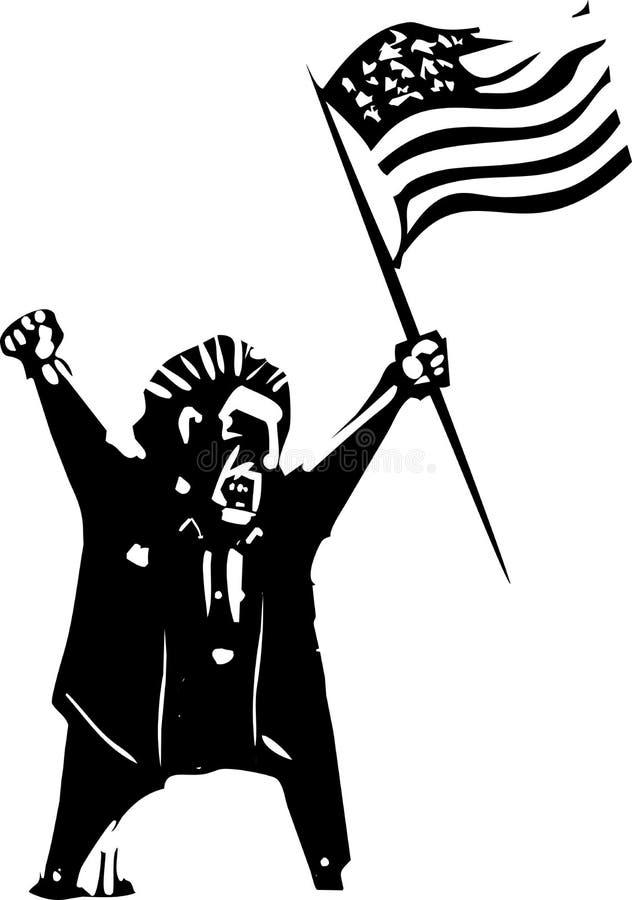 Bandera que agita del votante enojado ilustración del vector