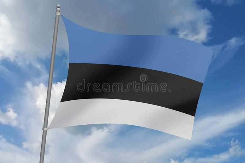 bandera que agita hermosa de Estonia del ejemplo 3D libre illustration