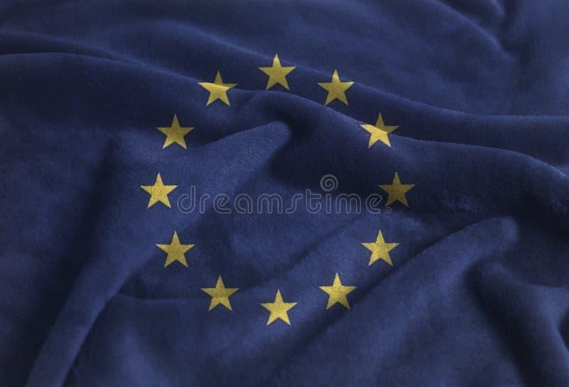 Bandera que agita ondulada de la unión europea en el terciopelo imagen de archivo libre de regalías