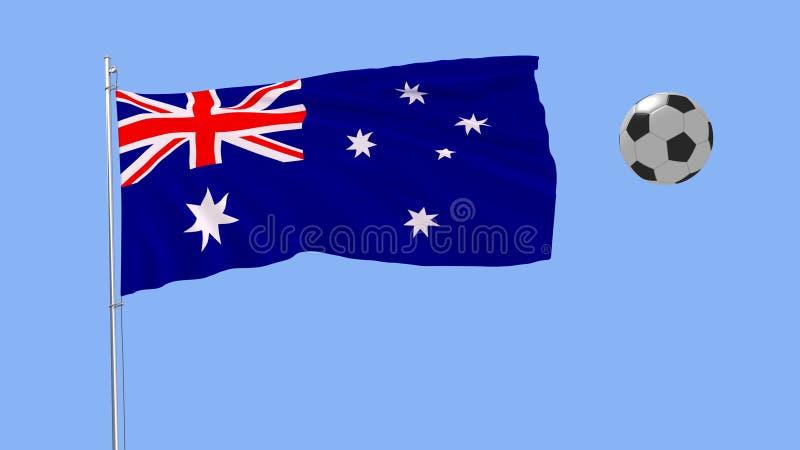 Bandera que agita realista de Australia y del balón de fútbol que vuelan alrededor en un fondo azul, representación 3d imágenes de archivo libres de regalías