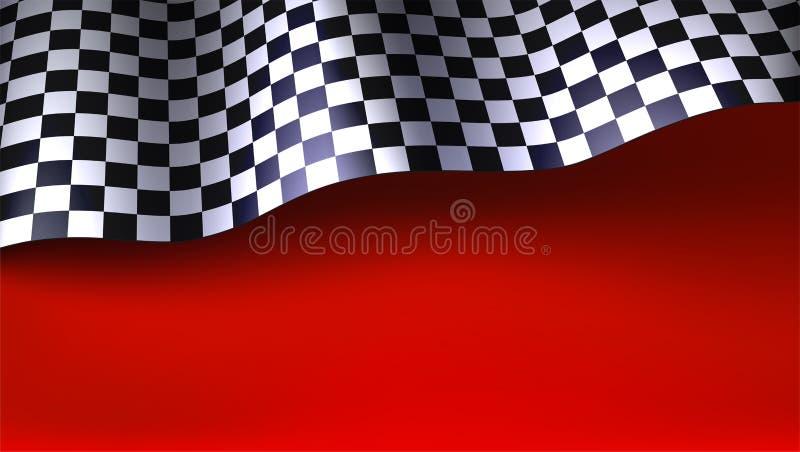 Bandera que compite con a cuadros que agita en fondo rojo Bandera para la reuni?n del coche o del motorsport ejemplo tridimension ilustración del vector
