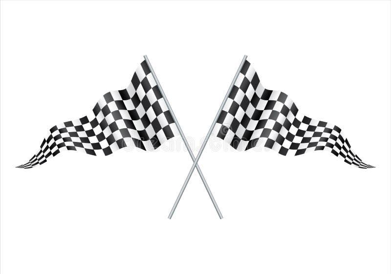 Bandera que compite con a cuadros aislada en blanco dos cruzaron competir con banderas a cuadros Bandera de cuero blanco y negro  stock de ilustración