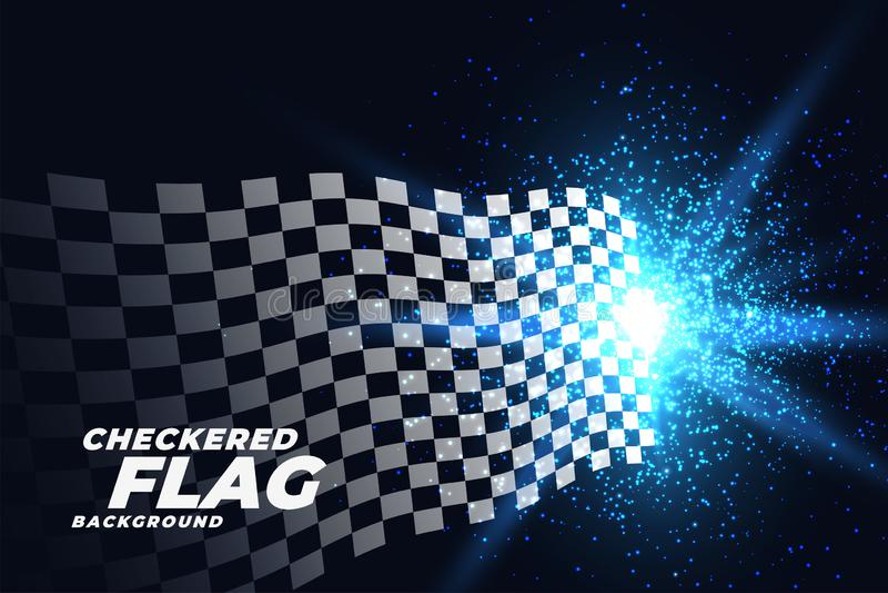 Bandera que compite con a cuadros con el fondo azul de las partículas de las luces libre illustration