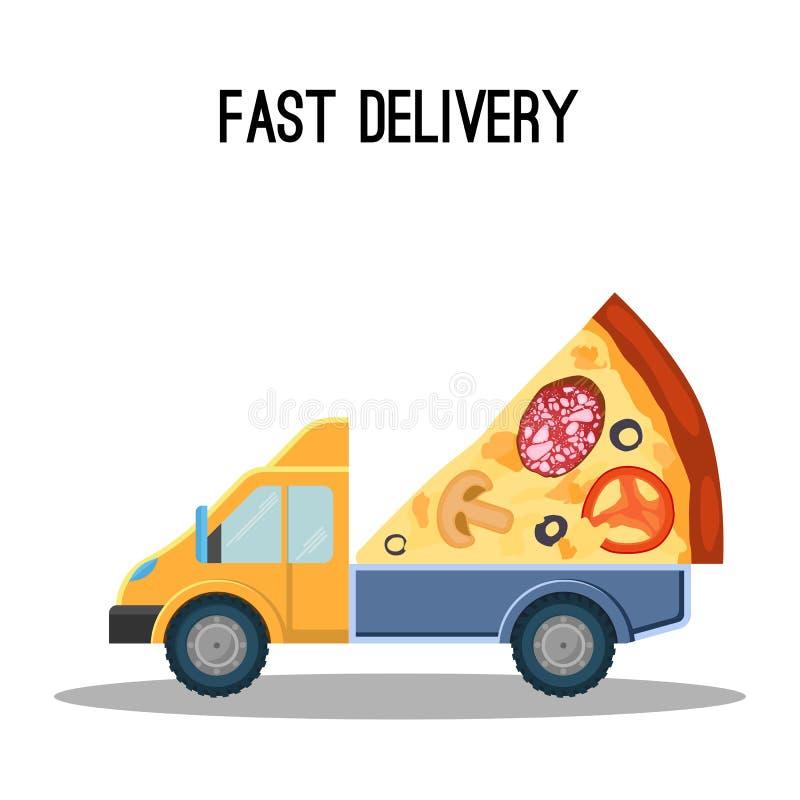 Bandera rápida del anuncio de la entrega con el pedazo de pizza enorme stock de ilustración
