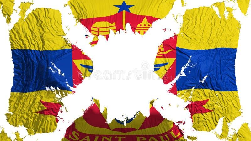 Bandera rasgada capital de Saint Paul que agita en el viento ilustración del vector