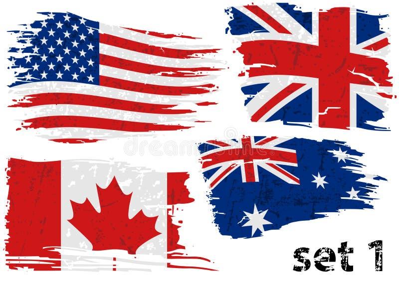 Bandera rasgada los E.E.U.U. determinados, GB, poder, Australia ilustración del vector
