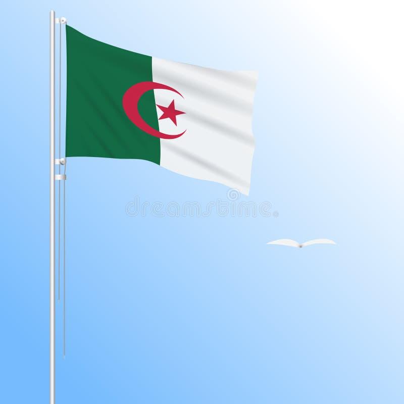Bandera realista de Argelia, agitando en el viento, vector ilustración del vector