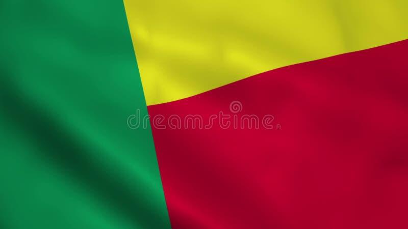 Bandera realista de Benin stock de ilustración