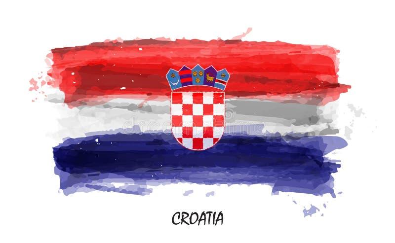 Bandera realista de la pintura de la acuarela de Croacia Vector stock de ilustración