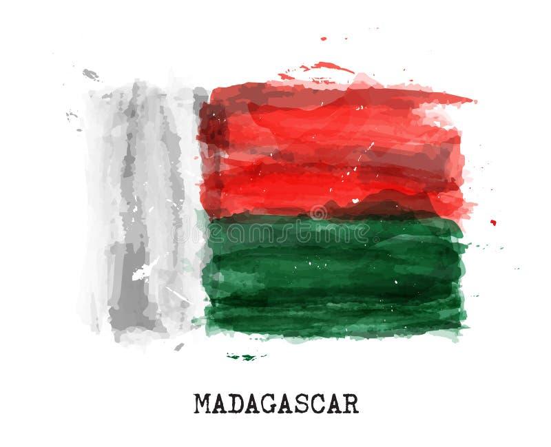 Bandera realista de la pintura de la acuarela de Madagascar Vector ilustración del vector