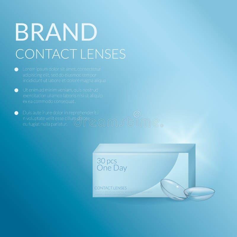 Bandera realista de las lentes y del empaquetado de contacto Plantilla médica y cosmética del diseño del ejemplo stock de ilustración