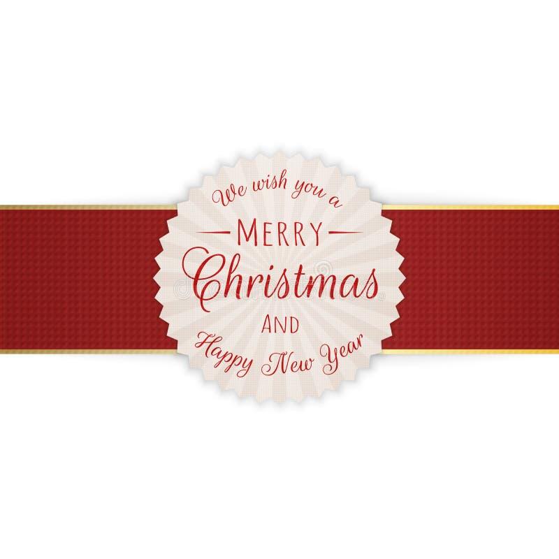 Bandera realista del círculo de la Feliz Navidad ilustración del vector
