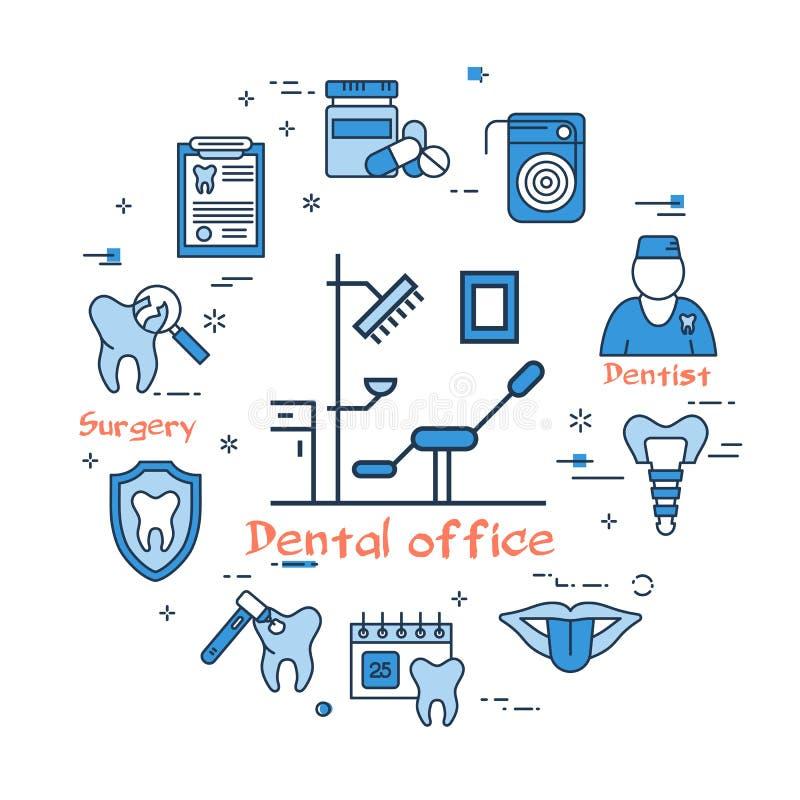 Bandera redonda azul - oficina y equipo dentales stock de ilustración