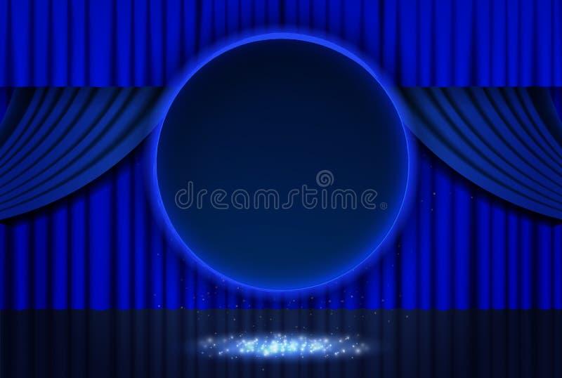 Bandera redonda azul retra brillante en la cortina de la etapa libre illustration