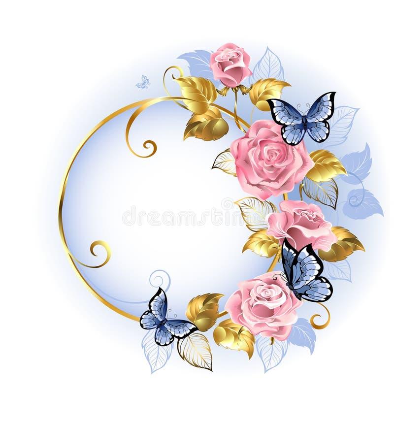 Bandera redonda con las rosas rosadas stock de ilustración