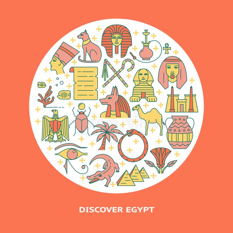 Bandera redonda con los s?mbolos de Egipto en la l?nea estilo coloreada libre illustration