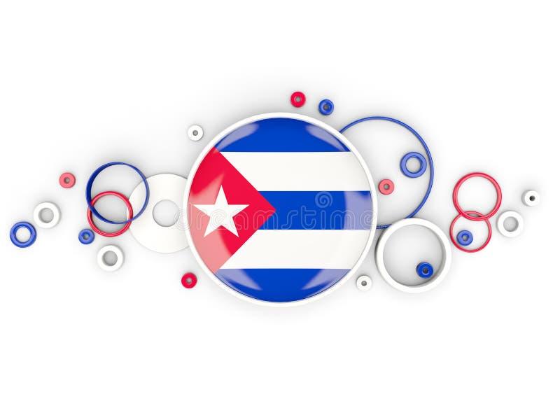 Bandera redonda de Cuba con el modelo de los círculos libre illustration