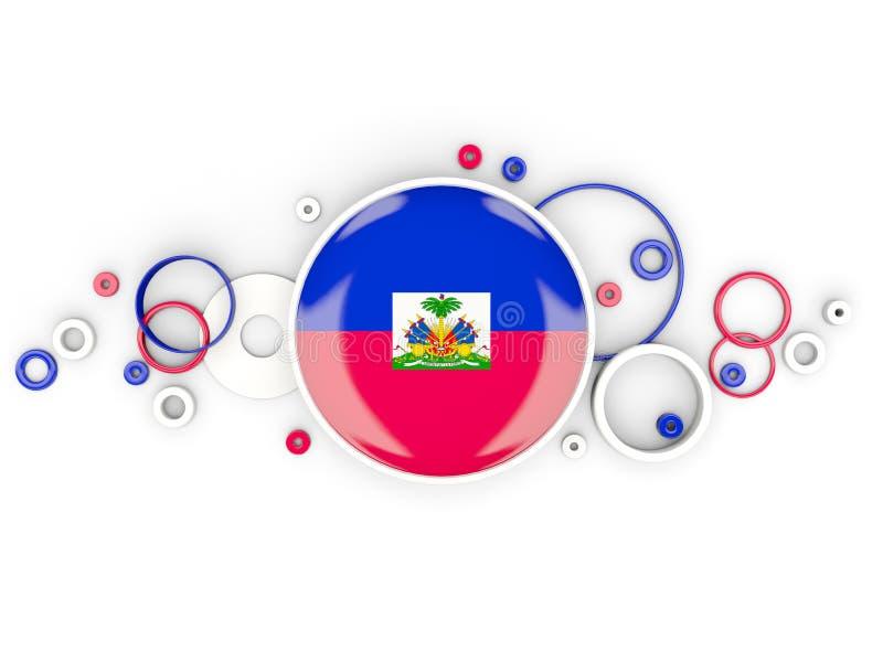 Bandera redonda de Haití con el modelo de los círculos stock de ilustración