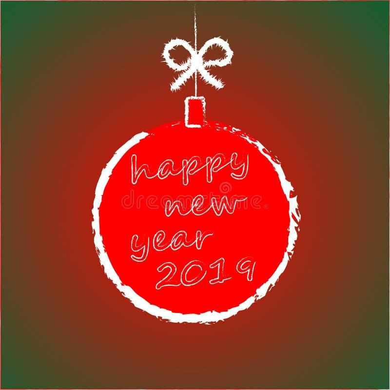 Bandera redonda de la Feliz Año Nuevo 2019 con la cinta y el arco rojos, en fondo del invierno con la decoración del árbol de nav ilustración del vector