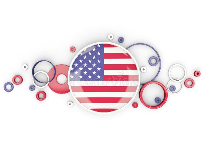 Bandera redonda de los Estados Unidos de América con el modelo de los círculos stock de ilustración