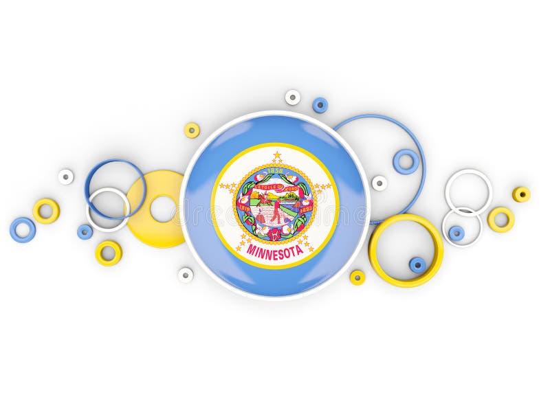 Bandera redonda de Minnesota con el modelo de los círculos Lugares geométricos de Estados Unidos stock de ilustración