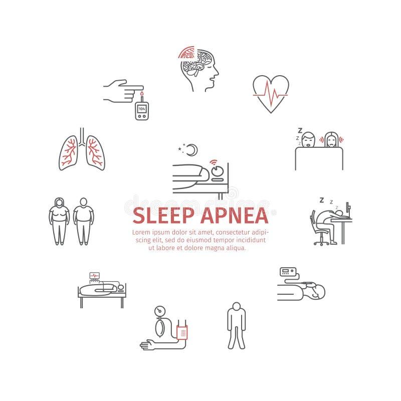 Bandera redonda del Apnea de sueño Síntomas, tratamiento Línea iconos Muestras del vector para los gráficos del web ilustración del vector