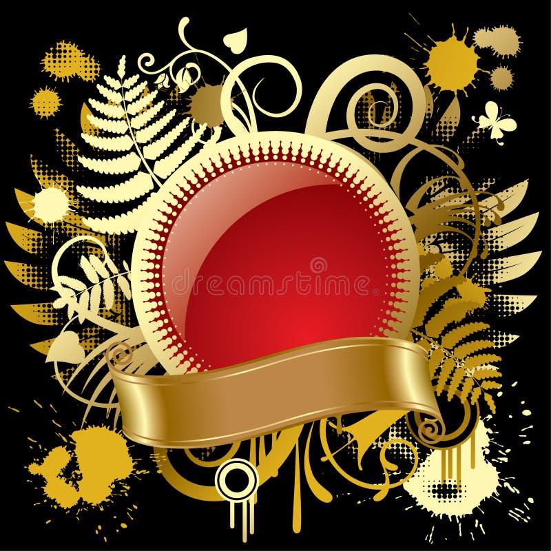 Bandera redonda del oro ilustración del vector