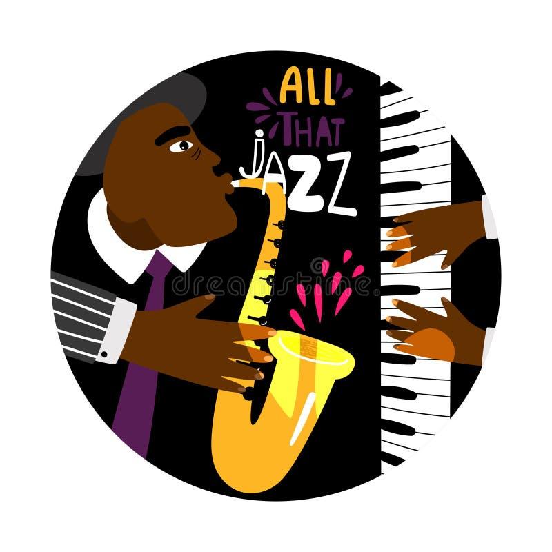 Bandera redonda del piano del jazz stock de ilustración