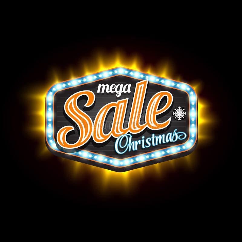 Bandera retra de la luz del vector de la Navidad de la venta con el marco ligero libre illustration