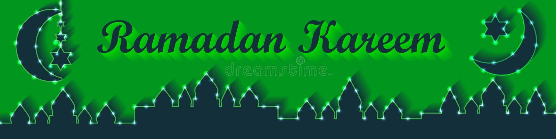 Bandera RGB del verde del limón de la linterna del Ramadán ilustración del vector