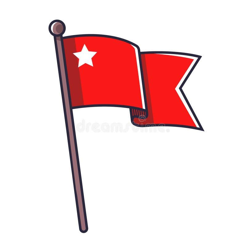 Bandera roja con una estrella stock de ilustración