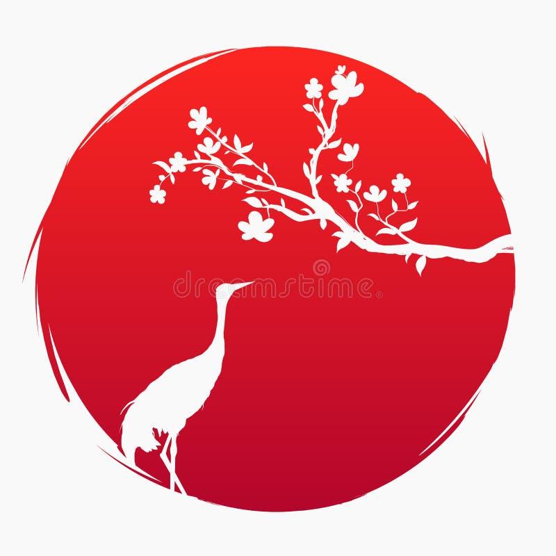 Bandera roja de Japón Una rama con las flores de Sakura y una grúa japonesa en el fondo del sol rojo Crabe stock de ilustración