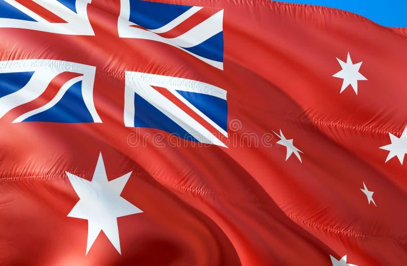 Bandera roja de la bandera de Australia diseño de la bandera que agita 3D El símbolo nacional de la bandera roja de Australia, re imagen de archivo
