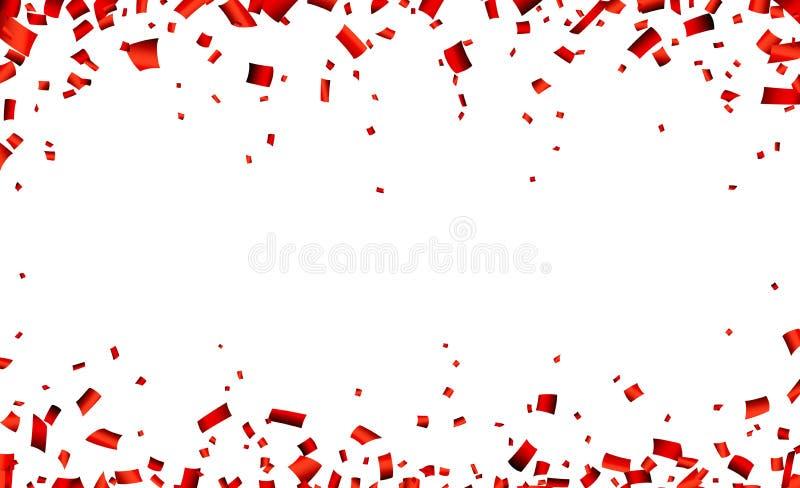 Bandera roja de la celebración del confeti stock de ilustración