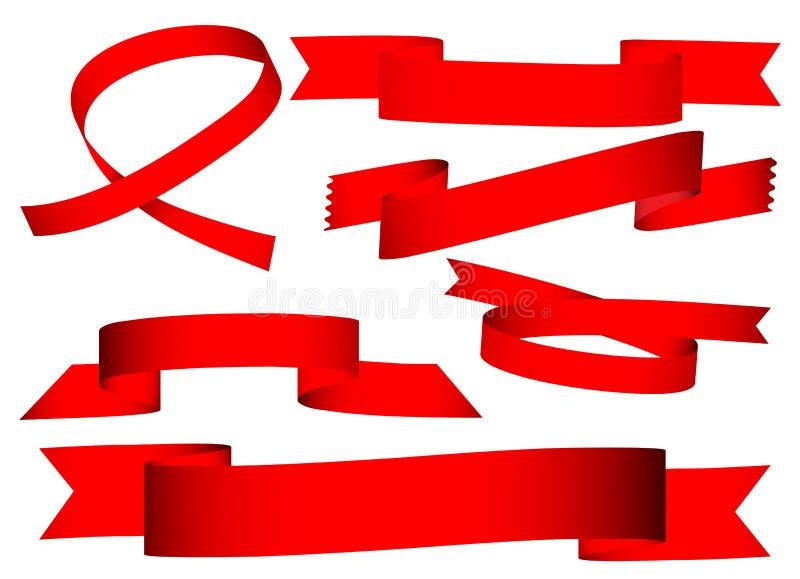 Bandera roja de la cinta stock de ilustración