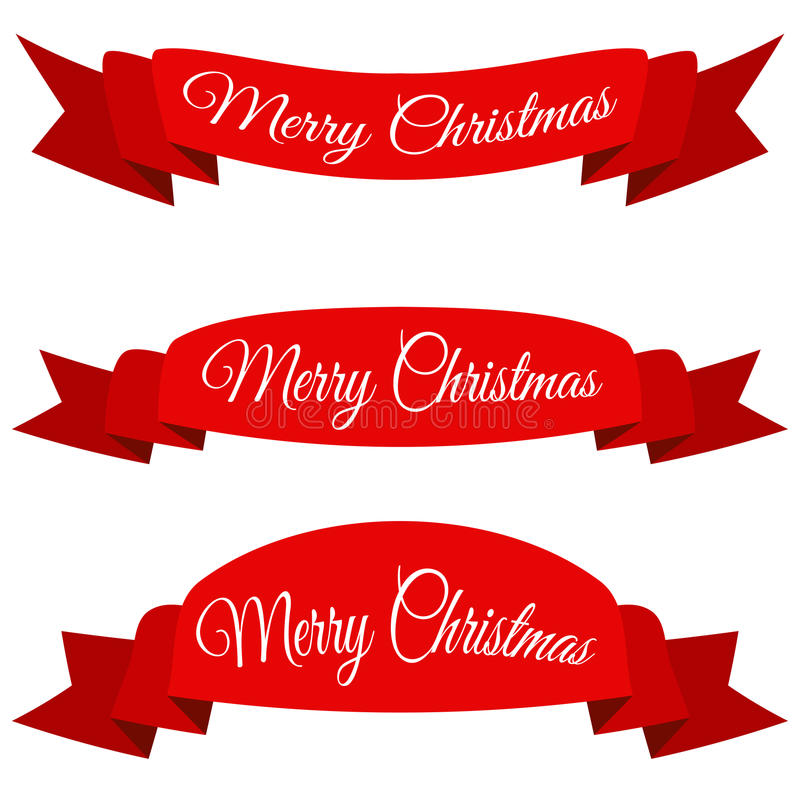 Bandera roja de la Feliz Navidad Sistema de cintas con el texto ilustración del vector