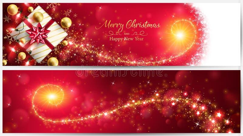 Bandera roja de la Navidad con el stardust mágico de oro ilustración del vector