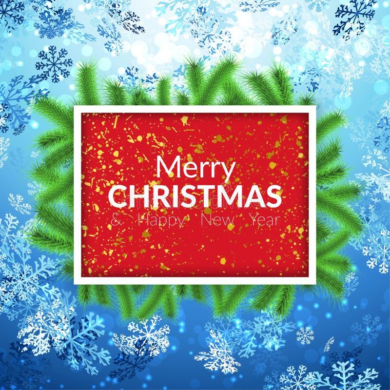 Bandera roja de la partícula de oro de la hoja de la Feliz Navidad con los copos de nieve libre illustration