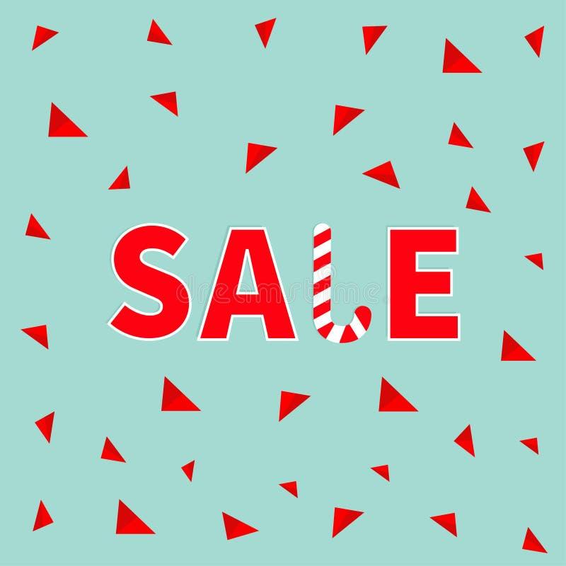 Bandera roja del bastón de caramelo del texto de la venta, haciendo publicidad del cartel Oferta de la estación de la Feliz Navid stock de ilustración
