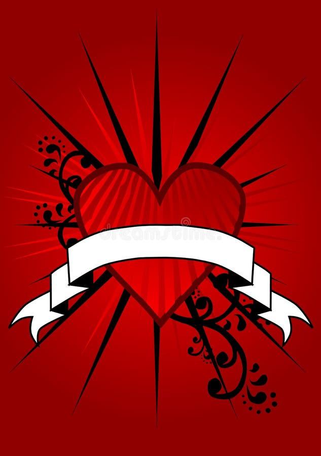 Bandera roja del corazón stock de ilustración