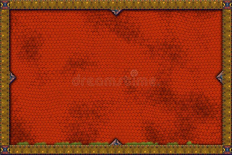 Bandera roja del lagarto stock de ilustración