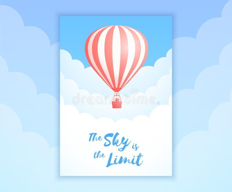 Bandera roja del promo del vuelo del cielo del balón de aire del ot de la raya ilustración del vector