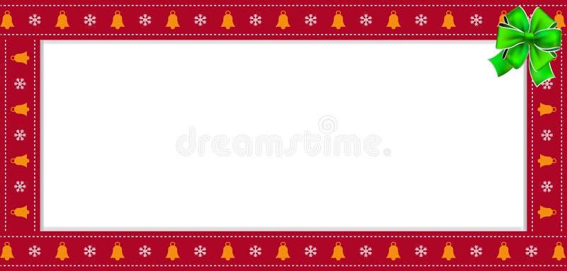Bandera roja del rectángulo de la Navidad linda o del Año Nuevo, frontera, marco con el espacio de la copia stock de ilustración