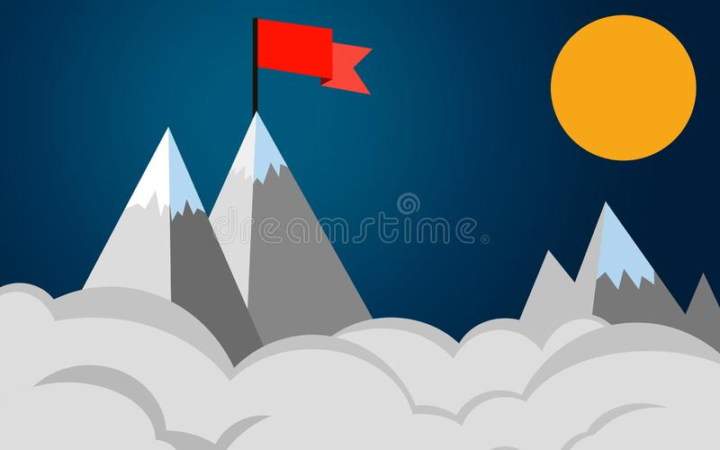 Bandera roja en un pico de montaña, negocio del concepto del éxito libre illustration