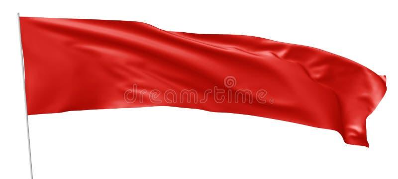 Bandera roja larga con la asta de bandera que agita en viento ilustración del vector