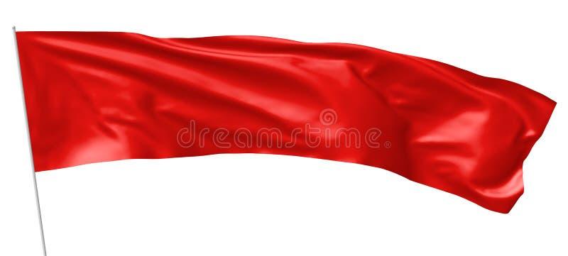 Bandera roja larga en el vuelo de la asta de bandera en viento ilustración del vector