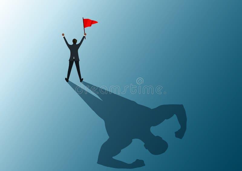 Bandera roja que se considera humana al éxito con el ilustrador fuerte del hombre de la sombra ilustración del vector