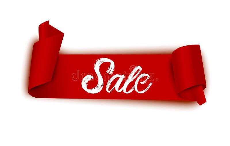 Bandera roja realista de la venta Cinta de la venta y etiqueta engomada redonda Ejemplo curvado del vector de la voluta del papel ilustración del vector